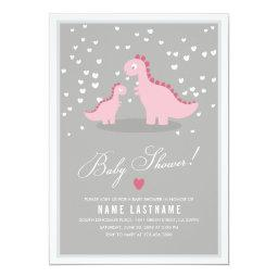 Stylish Pink Dino Girl Baby Shower Invite