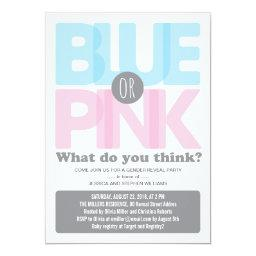 Stylish Pink or Blue Baby Gender Reveal Party