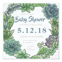 Succulent baby shower invitation  2