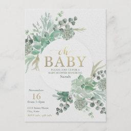 Succulent Baby Shower Invitation - Floral Invite
