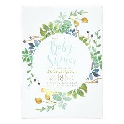 Succulent Garden Circle | Watercolor Baby Shower Invitations