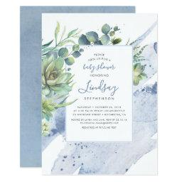 Succulents Greenery Dusty Blue Baby Shower Invitation
