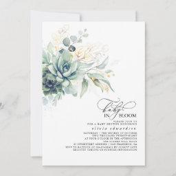 Succulents Greenery Gold Leaves Boho Baby Shower Invitation