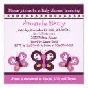 Sugar Plum Butterflies Baby Shower Invitation