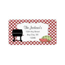 Summer address labels with grill and watermelon