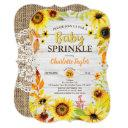 Sunflower Baby Sprinkle Invitation Rustic Wood