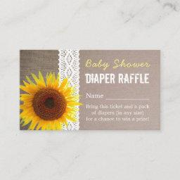 Sunflower Burlap & Lace Baby Diaper Raffle Ticket Enclosure