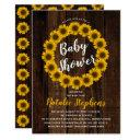 Sunflower Floral Wreath Wood Baby Shower Invite