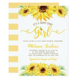 Sunflower Girl Summer Floral Baby Shower Invitation