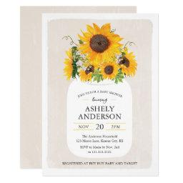 Mason jar baby shower invitations babyshowerinvitations4u sunflower mason jar baby shower invitation filmwisefo