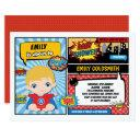 Superhero Baby Boy Shower / Comic Book Blond Hair Invitation