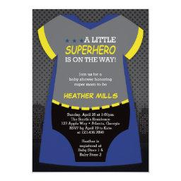 Superhero Baby Shower Invitation, Blue, Black Invitation