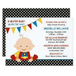 Superhero Bunting Baby Shower Invitation