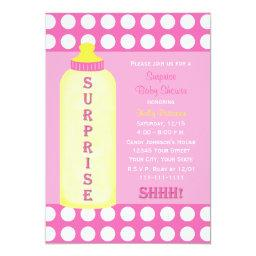 Surprise Baby Shower  Pink Baby Bottle