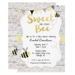 Sweet As Can Bee Baby Shower Invitations