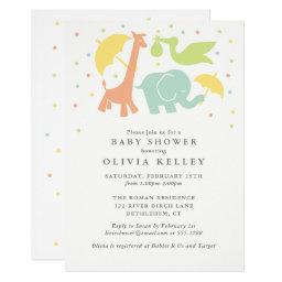 Sweet Baby Animal Baby Shower, Neutral Invitation