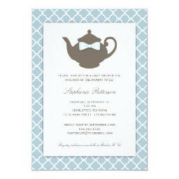 Sweet Blue   Brown Teapot Baby Shower Tea Party