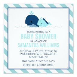 Sweet Blue Whales Boy Baby Shower
