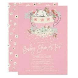 Sweet Bunny Tea Pink Girls Baby Shower