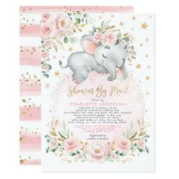 Sweet Elephant Blush Gold Baby Shower By Mail Invitation