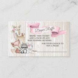 Sweet Forest Woodland Girls Diaper Raffle  Invitations