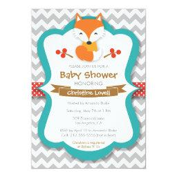 Sweet Fox Red & Turquoise Baby Shower