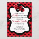 Sweet Ladybug Girl Baby Shower Invitation