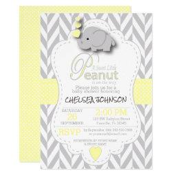 Sweet Little Peanut Elephant Baby Shower 🐘 Invitations