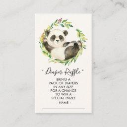 Sweet Panda Baby Shower Diaper Raffle Ticket Enclosure Card