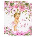 Sweet Pink Floral Rose Baby Shower Girl Blonde Invitations