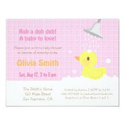 Sweet Rubber Ducky PInk Baby Shower