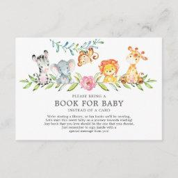 Sweet Safari Animals Baby Shower Book For Baby Enclosure Card