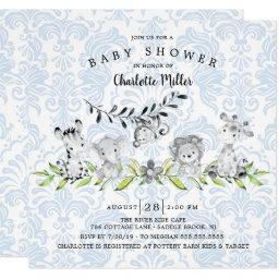 Sweet Safari Animals Boys Baby Shower Invitation
