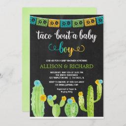 Taco Bout A Baby Boy, Fiesta Cactus Baby Shower Invitation