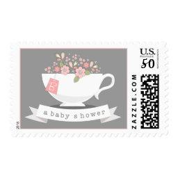 Teacup & Pink Floral Personalized Baby Shower Postage