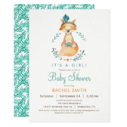 Teal and Orange Girl Fox Baby Shower