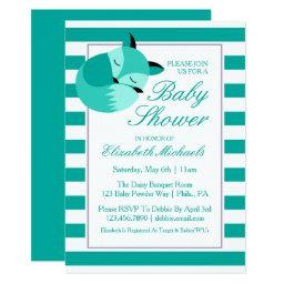Teal Baby Shower Fox