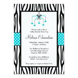 Teal Blue and Black Zebra Heart Mobile Baby Shower
