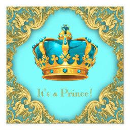 Teal Blue and Gold Prince Baby Shower