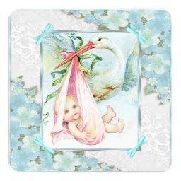 Teal Blue and Pink Stork Baby Shower