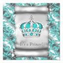 Teal Blue And Silver Prince Boy Baby Shower Invitation