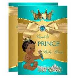 Teal Blue Gold Prince Baby Shower Ethnic Invitation