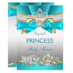 Teal Blue Gold Princess Baby Shower Carriage