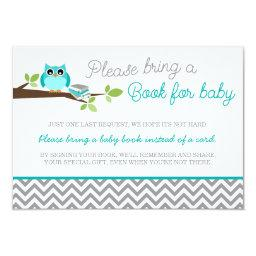 Teal Blue Owl Gray Chevron Baby Shower Book