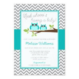 Teal Blue Owl Gray Chevron Boy Baby Shower