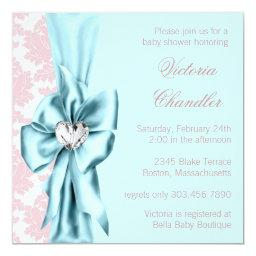 Teal Blue Pink Damask Bow Elegant Baby Girl Shower