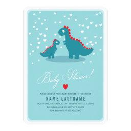 Teal Dinosaur Blue Baby Shower Invite Rounded