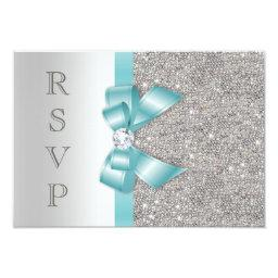 Teal Faux Bow Silver Diamonds RSVP