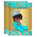 Teal Gold Pearl Princess Baby Shower Ethnic Invitations
