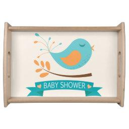 Teal & Orange Bird on Branch Baby Shower Serving Tray